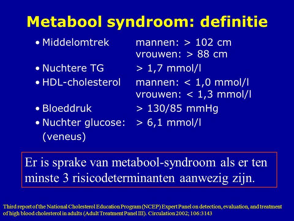 Metabool syndroom: definitie Middelomtrekmannen: > 102 cm vrouwen: > 88 cm Nuchtere TG> 1,7 mmol/l HDL-cholesterolmannen: < 1,0 mmol/l vrouwen: < 1,3 mmol/l Bloeddruk> 130/85 mmHg Nuchter glucose:> 6,1 mmol/l (veneus) Er is sprake van metabool-syndroom als er ten minste 3 risicodeterminanten aanwezig zijn.