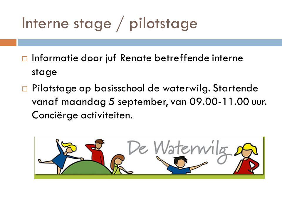 Interne stage / pilotstage  Informatie door juf Renate betreffende interne stage  Pilotstage op basisschool de waterwilg. Startende vanaf maandag 5