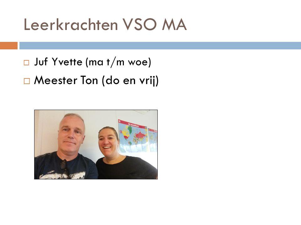 Ondersteuning VSO MA  Praktijkvakken: meester Maarten voor Groen (do) meester Ton voor Techniek (ma)  Juf Zita (ma-, di-, do-, vrijdagmiddag), zorgmedewerker
