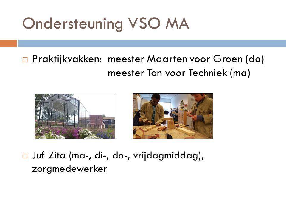 Ondersteuning VSO MA  Praktijkvakken: meester Maarten voor Groen (do) meester Ton voor Techniek (ma)  Juf Zita (ma-, di-, do-, vrijdagmiddag), zorgm