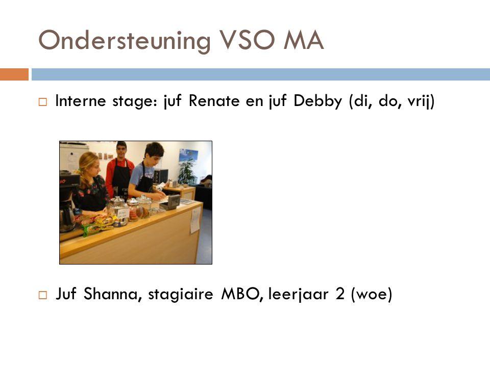 Ondersteuning VSO MA  Interne stage: juf Renate en juf Debby (di, do, vrij)  Juf Shanna, stagiaire MBO, leerjaar 2 (woe)