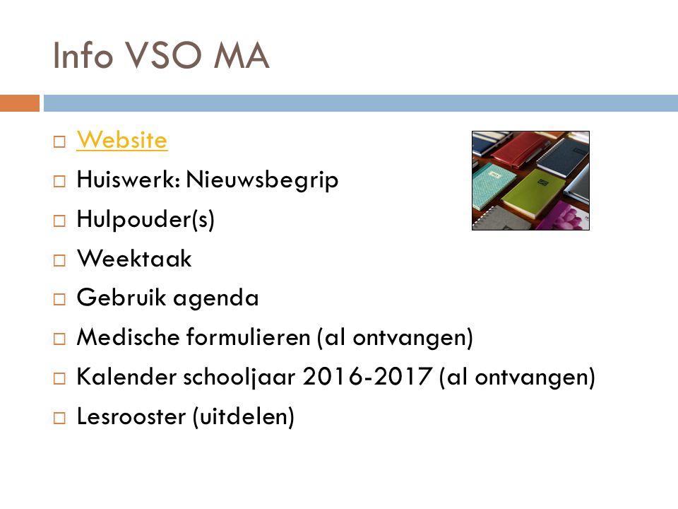 Info VSO MA  Website Website  Huiswerk: Nieuwsbegrip  Hulpouder(s)  Weektaak  Gebruik agenda  Medische formulieren (al ontvangen)  Kalender sch