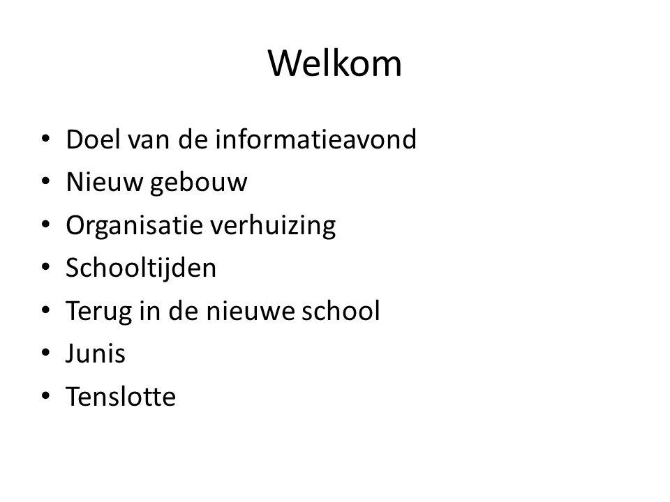 Welkom Doel van de informatieavond Nieuw gebouw Organisatie verhuizing Schooltijden Terug in de nieuwe school Junis Tenslotte