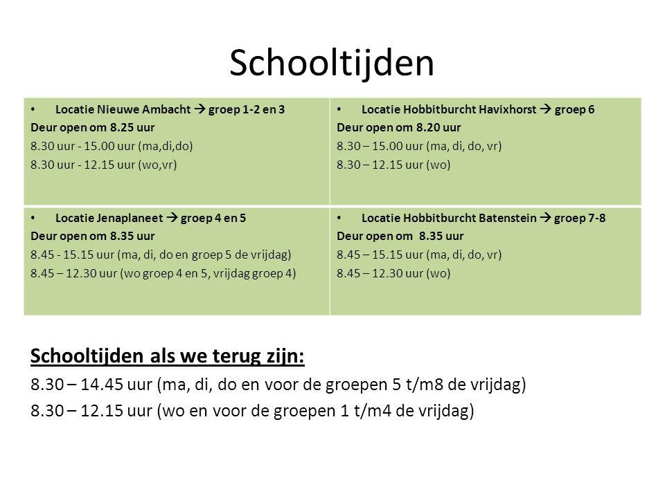 Schooltijden Verhuisdagen (woensdag 21 en donderdag 22 december) Schooltijden als we terug zijn: 8.30 – 14.45 uur (ma, di, do en voor de groepen 5 t/m8 de vrijdag) 8.30 – 12.15 uur (wo en voor de groepen 1 t/m4 de vrijdag) Locatie Nieuwe Ambacht  groep 1-2 en 3 Deur open om 8.25 uur 8.30 uur - 15.00 uur (ma,di,do) 8.30 uur - 12.15 uur (wo,vr) Locatie Hobbitburcht Havixhorst  groep 6 Deur open om 8.20 uur 8.30 – 15.00 uur (ma, di, do, vr) 8.30 – 12.15 uur (wo) Locatie Jenaplaneet  groep 4 en 5 Deur open om 8.35 uur 8.45 - 15.15 uur (ma, di, do en groep 5 de vrijdag) 8.45 – 12.30 uur (wo groep 4 en 5, vrijdag groep 4) Locatie Hobbitburcht Batenstein  groep 7-8 Deur open om 8.35 uur 8.45 – 15.15 uur (ma, di, do, vr) 8.45 – 12.30 uur (wo)