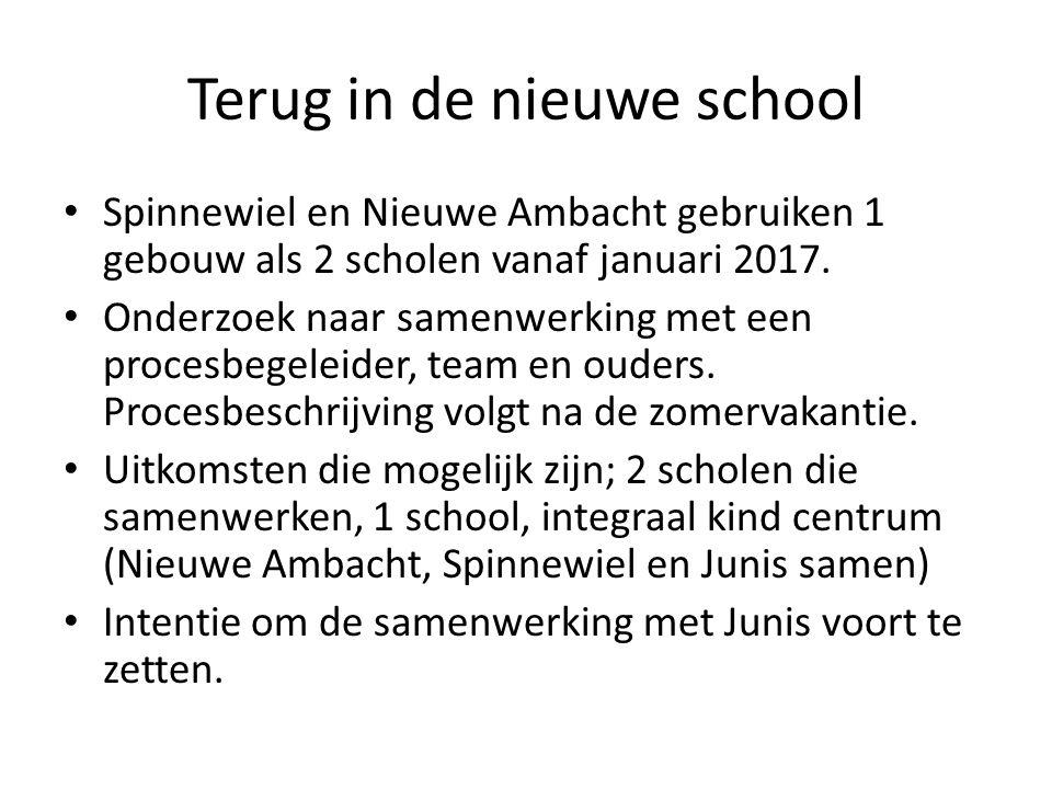 Terug in de nieuwe school Spinnewiel en Nieuwe Ambacht gebruiken 1 gebouw als 2 scholen vanaf januari 2017.