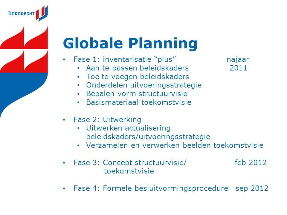 Globale Planning Fase 1: inventarisatie plus najaar Aan te passen beleidskaders 2011 Toe te voegen beleidskaders Onderdelen uitvoeringsstrategie Bepalen vorm structuurvisie Basismateriaal toekomstvisie Fase 2: Uitwerking Uitwerken actualisering beleidskaders/uitvoeringsstrategie Verzamelen en verwerken beelden toekomstvisie Fase 3: Concept structuurvisie/feb 2012 toekomstvisie Fase 4: Formele besluitvormingsprocedure sep 2012