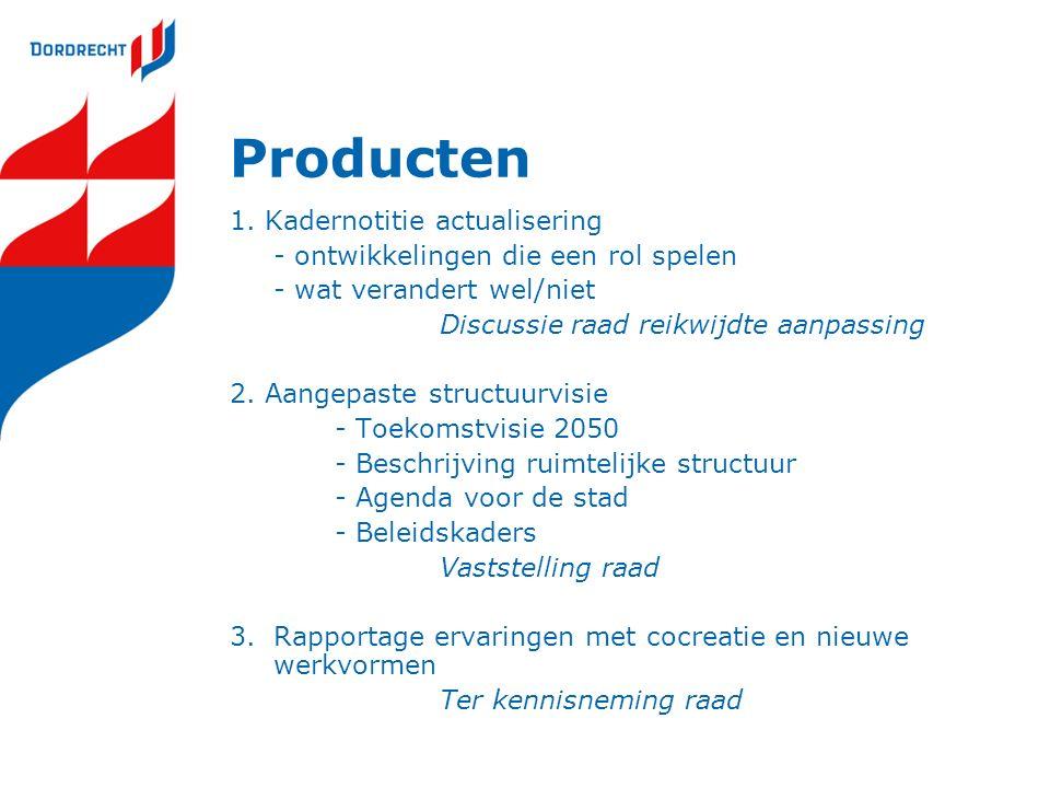 Producten 1. Kadernotitie actualisering - ontwikkelingen die een rol spelen - wat verandert wel/niet Discussie raad reikwijdte aanpassing 2. Aangepast