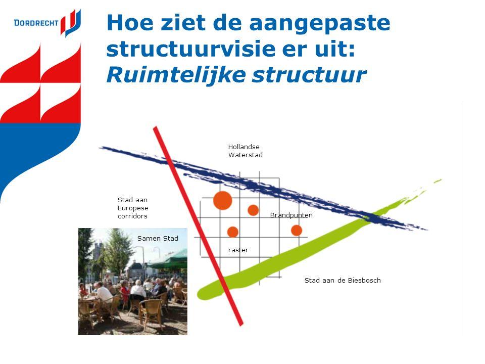 Hoe ziet de aangepaste structuurvisie er uit: Ruimtelijke structuur Stad aan Europese corridors Hollandse Waterstad Stad aan de Biesbosch Brandpunten