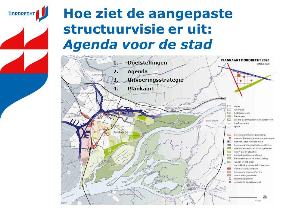 Hoe ziet de aangepaste structuurvisie er uit: Agenda voor de stad 1.Doelstellingen 2.Agenda 3.Uitvoeringsstrategie 4.Plankaart