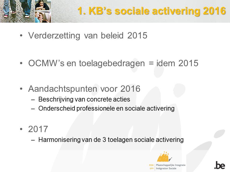 1. KB's sociale activering 2016 Verderzetting van beleid 2015 OCMW's en toelagebedragen = idem 2015 Aandachtspunten voor 2016 –Beschrijving van concre