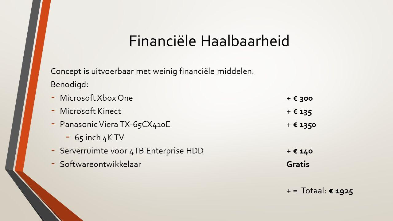 Financiële Haalbaarheid Concept is uitvoerbaar met weinig financiële middelen.