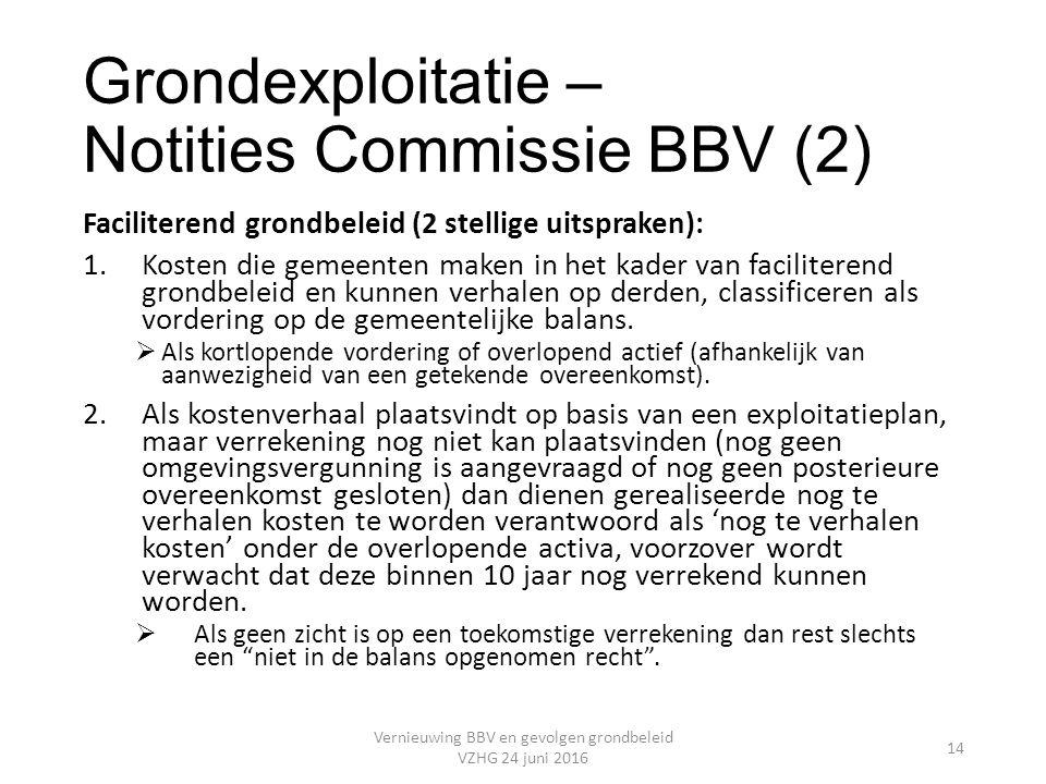 Grondexploitatie – Notities Commissie BBV (2) Faciliterend grondbeleid (2 stellige uitspraken): 1.Kosten die gemeenten maken in het kader van faciliterend grondbeleid en kunnen verhalen op derden, classificeren als vordering op de gemeentelijke balans.