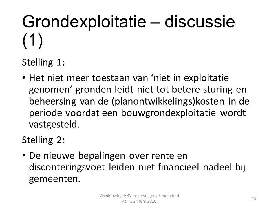 Grondexploitatie – discussie (1) Stelling 1: Het niet meer toestaan van 'niet in exploitatie genomen' gronden leidt niet tot betere sturing en beheersing van de (planontwikkelings)kosten in de periode voordat een bouwgrondexploitatie wordt vastgesteld.