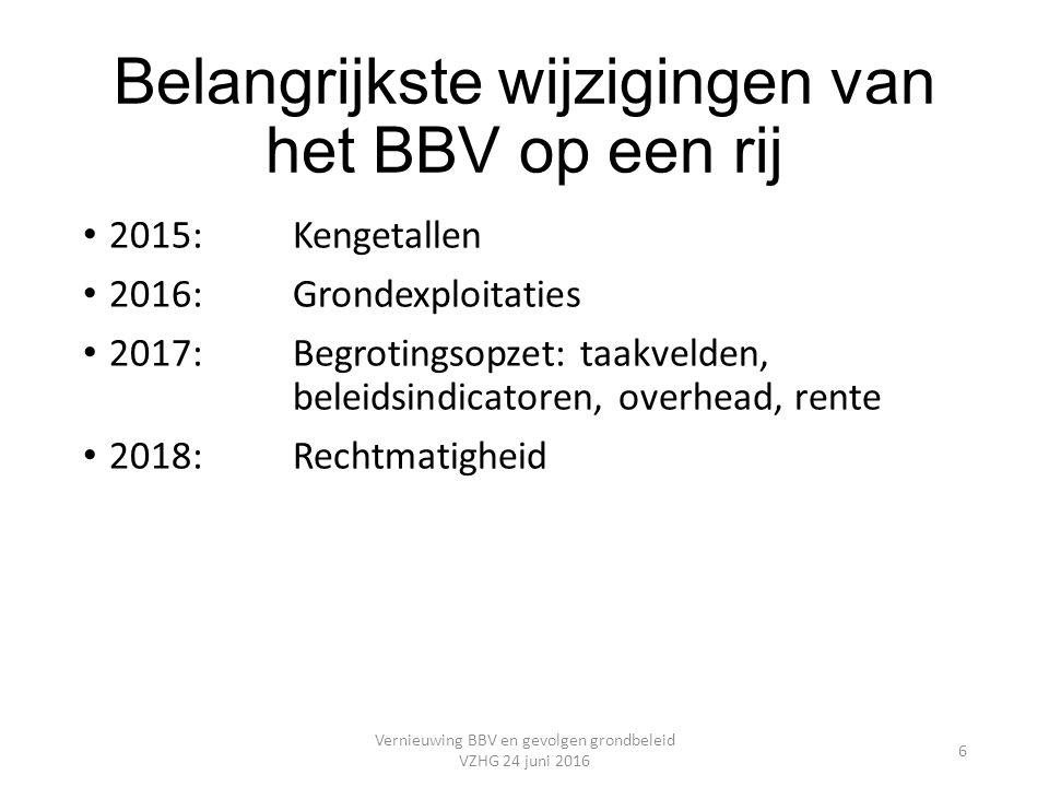 Belangrijkste wijzigingen van het BBV op een rij 2015:Kengetallen 2016:Grondexploitaties 2017:Begrotingsopzet: taakvelden, beleidsindicatoren, overhead, rente 2018:Rechtmatigheid Vernieuwing BBV en gevolgen grondbeleid VZHG 24 juni 2016 6