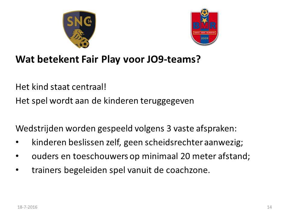 Wat betekent Fair Play voor JO9-teams. Het kind staat centraal.