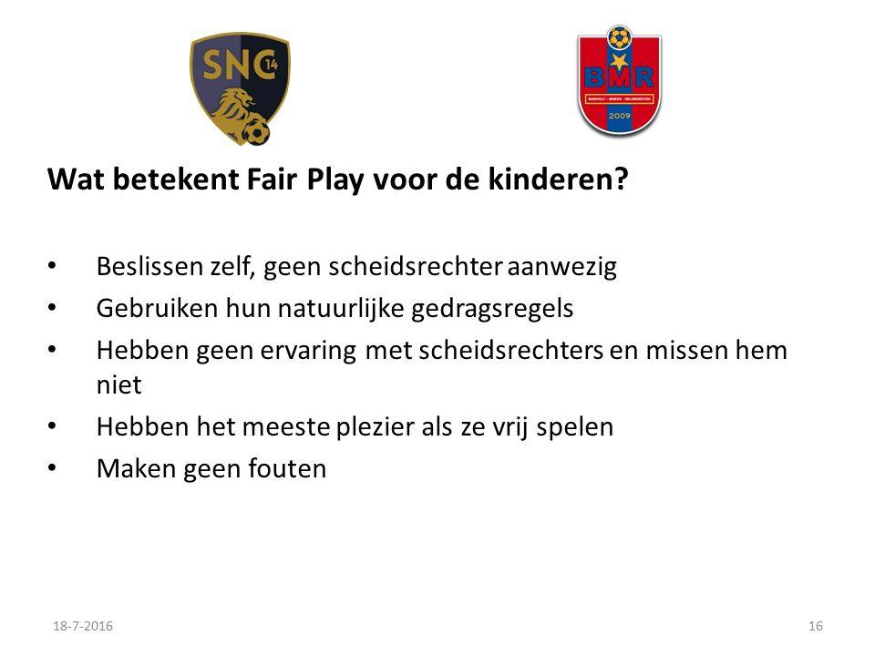 Wat betekent Fair Play voor de kinderen.
