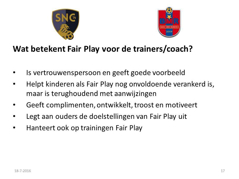Wat betekent Fair Play voor de trainers/coach.