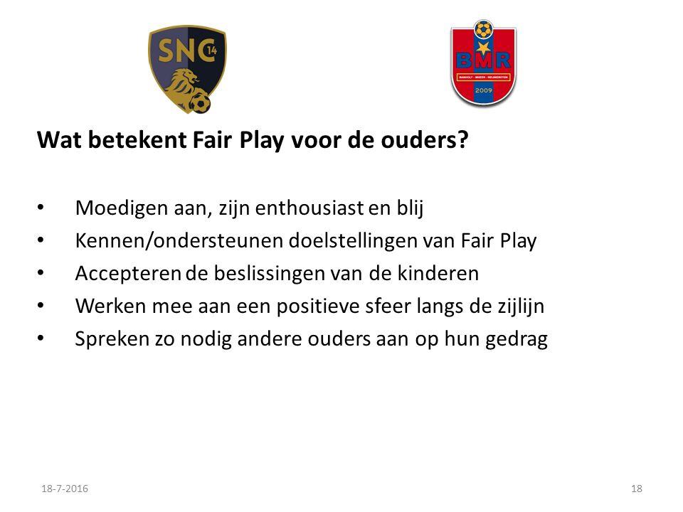 Wat betekent Fair Play voor de ouders.