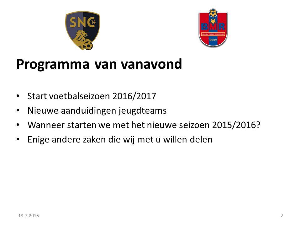 Programma van vanavond Start voetbalseizoen 2016/2017 Nieuwe aanduidingen jeugdteams Wanneer starten we met het nieuwe seizoen 2015/2016.
