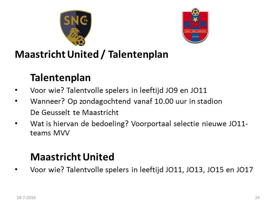 Maastricht United / Talentenplan Talentenplan Voor wie.
