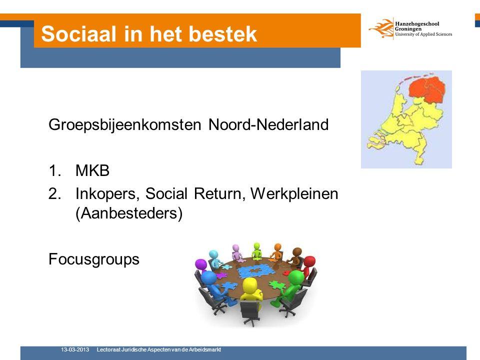 Sociaal in het bestek Groepsbijeenkomsten Noord-Nederland 1.MKB 2.Inkopers, Social Return, Werkpleinen (Aanbesteders) Focusgroups 13-03-2013Lectoraat