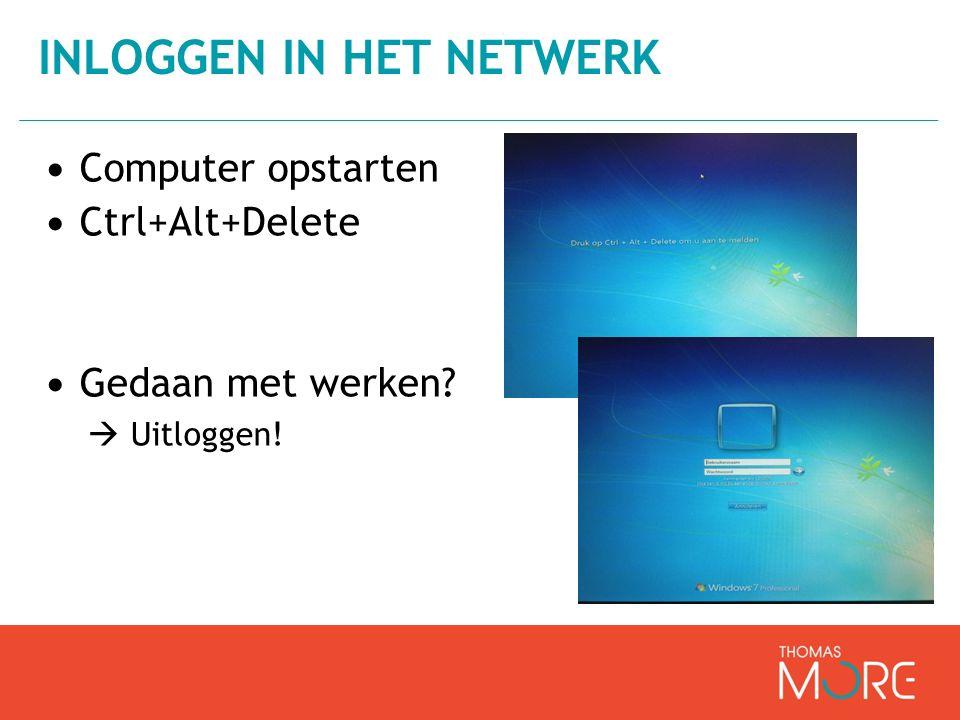 Computer opstarten Ctrl+Alt+Delete Gedaan met werken?  Uitloggen! INLOGGEN IN HET NETWERK