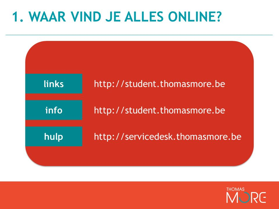 links info hulp http://student.thomasmore.be http://servicedesk.thomasmore.be
