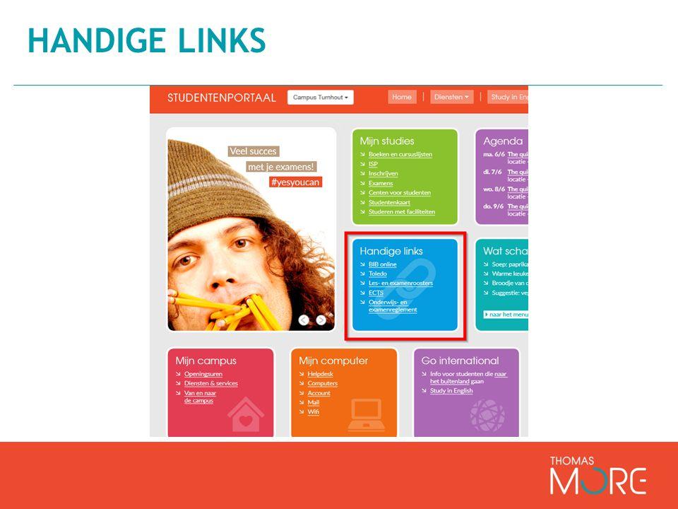 Toetsen en leren doeltreffend ondersteunen Digitaal leerplatform Alle communicatie tussen docent en studenten http://www.thomasmore.be/studenten TOLEDO Dagelijks checken!