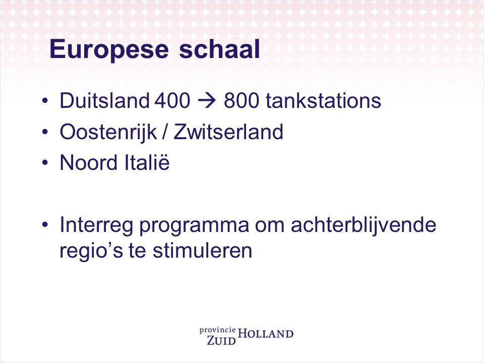 Europese schaal Duitsland 400  800 tankstations Oostenrijk / Zwitserland Noord Italië Interreg programma om achterblijvende regio's te stimuleren