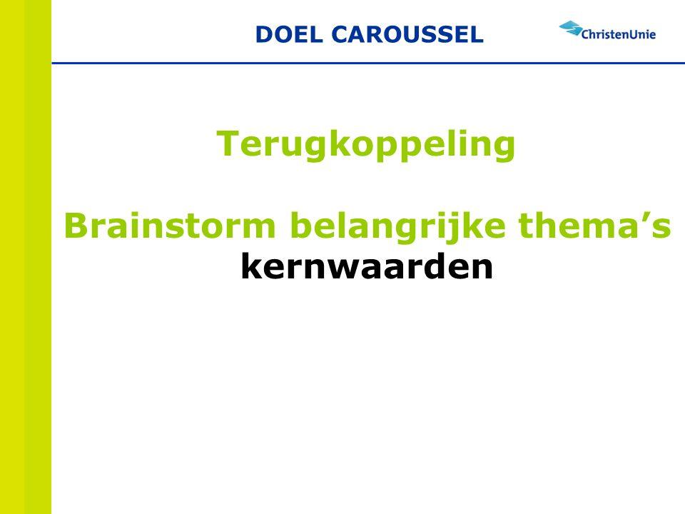 Terugkoppeling Brainstorm belangrijke thema's kernwaarden DOEL CAROUSSEL