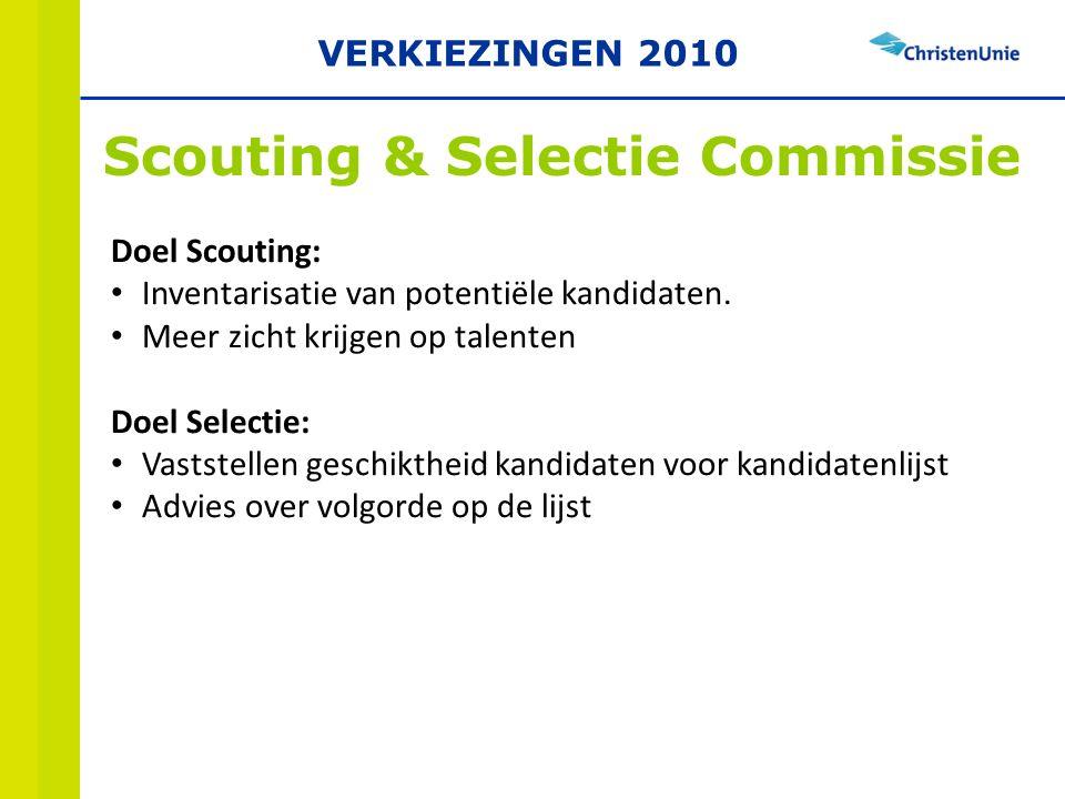 Scouting & Selectie Commissie Doel Scouting: Inventarisatie van potentiële kandidaten.