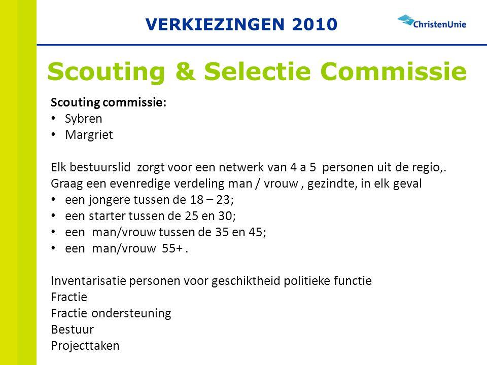 Scouting & Selectie Commissie Scouting commissie: Sybren Margriet Elk bestuurslid zorgt voor een netwerk van 4 a 5 personen uit de regio,.