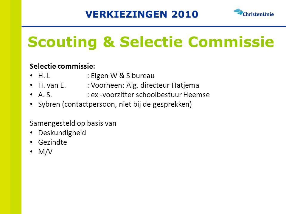 Scouting & Selectie Commissie Selectie commissie: H.