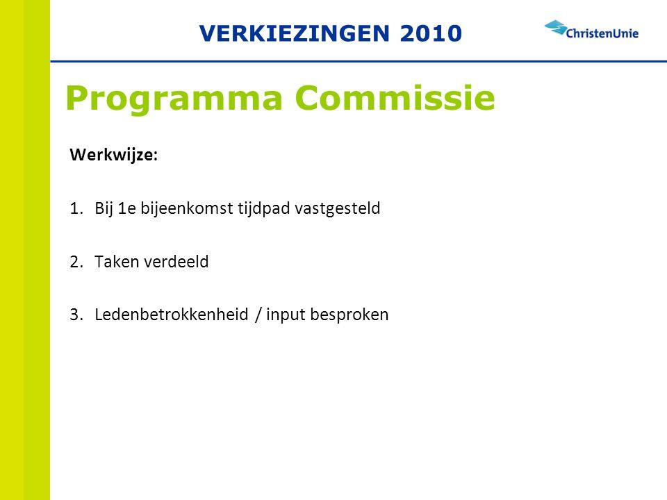 Werkwijze: 1.Bij 1e bijeenkomst tijdpad vastgesteld 2.Taken verdeeld 3.Ledenbetrokkenheid / input besproken Programma Commissie VERKIEZINGEN 2010