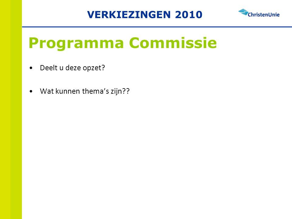 Deelt u deze opzet Wat kunnen thema's zijn Programma Commissie VERKIEZINGEN 2010