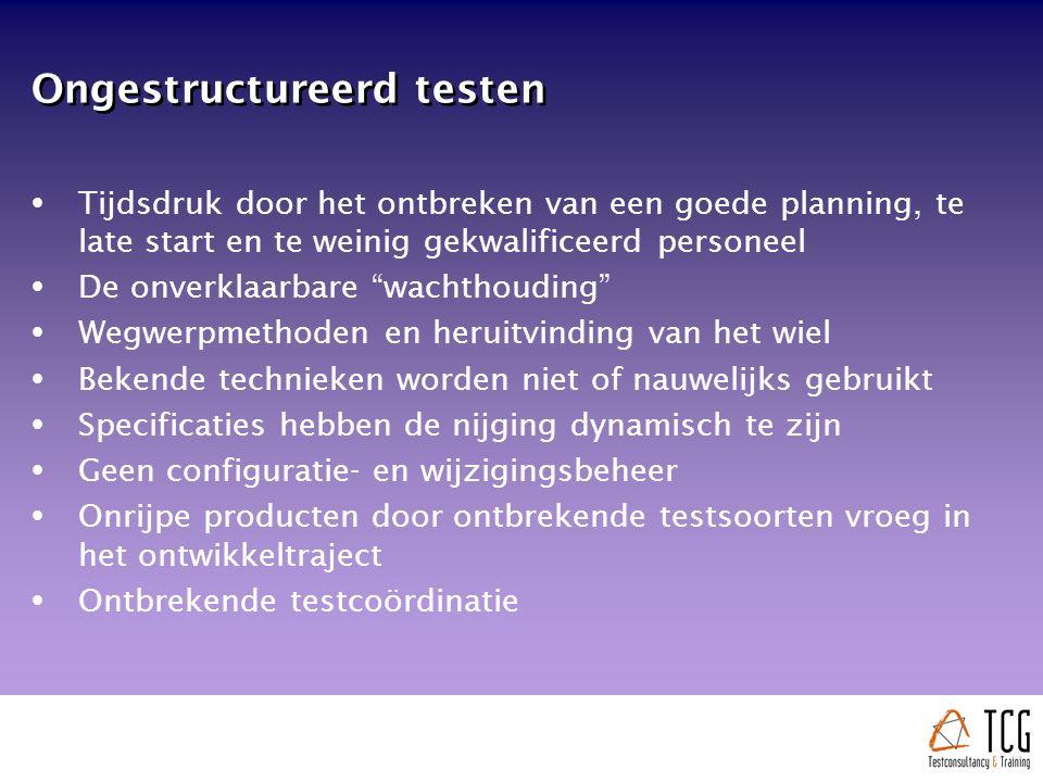 Ongestructureerd testen  Tijdsdruk door het ontbreken van een goede planning, te late start en te weinig gekwalificeerd personeel  De onverklaarbare wachthouding  Wegwerpmethoden en heruitvinding van het wiel  Bekende technieken worden niet of nauwelijks gebruikt  Specificaties hebben de nijging dynamisch te zijn  Geen configuratie- en wijzigingsbeheer  Onrijpe producten door ontbrekende testsoorten vroeg in het ontwikkeltraject  Ontbrekende testcoördinatie