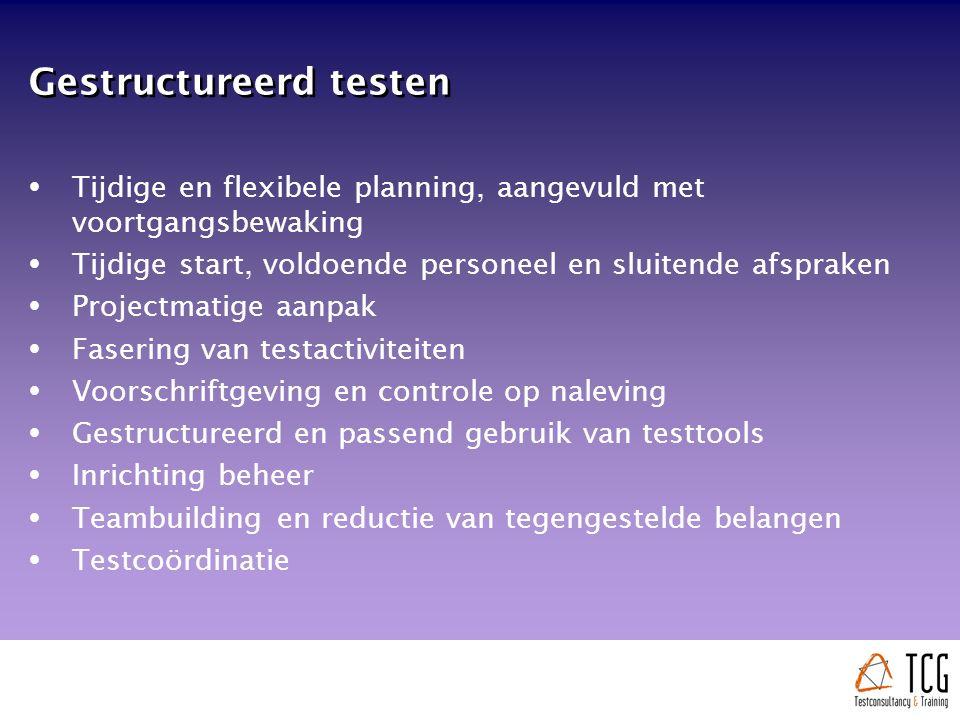 Gestructureerd testen  Tijdige en flexibele planning, aangevuld met voortgangsbewaking  Tijdige start, voldoende personeel en sluitende afspraken  Projectmatige aanpak  Fasering van testactiviteiten  Voorschriftgeving en controle op naleving  Gestructureerd en passend gebruik van testtools  Inrichting beheer  Teambuilding en reductie van tegengestelde belangen  Testcoördinatie