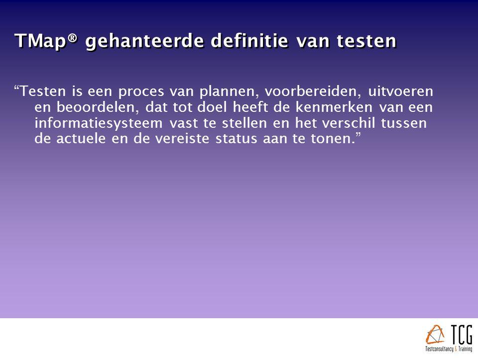 Testspecificatietechnieken  Een testgeval bestaat uit een de volgende elementen: Uitgangssituatie Veranderingsproces ( actie ) Resultaatvoorspelling  Een testgeval wordt op basis van uitgangsinformatie (de testbasis) bepaald  Testspecificatietechnieken vormen een gestandaardiseerde manier om vanuit uitgangsinformatie testgevallen af te leiden  Individuele testgevallen worden gebundeld in testscripts, de testscripts in testdraaiboeken