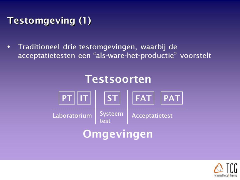 Testomgeving (1)  Traditioneel drie testomgevingen, waarbij de acceptatietesten een als-ware-het-productie voorstelt PTITSTFATPAT Laboratorium Systeem test Acceptatietest Omgevingen Testsoorten