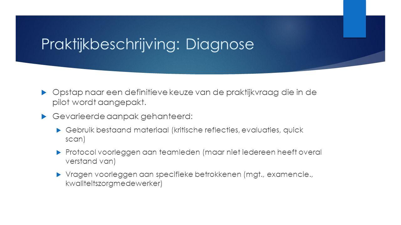 Praktijkbeschrijving: Diagnose  Opstap naar een definitieve keuze van de praktijkvraag die in de pilot wordt aangepakt.