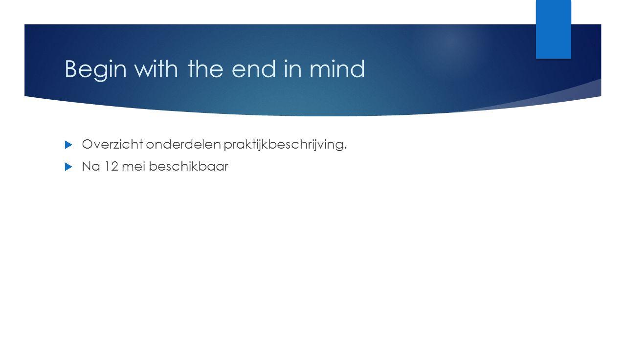 Begin with the end in mind  Overzicht onderdelen praktijkbeschrijving.  Na 12 mei beschikbaar
