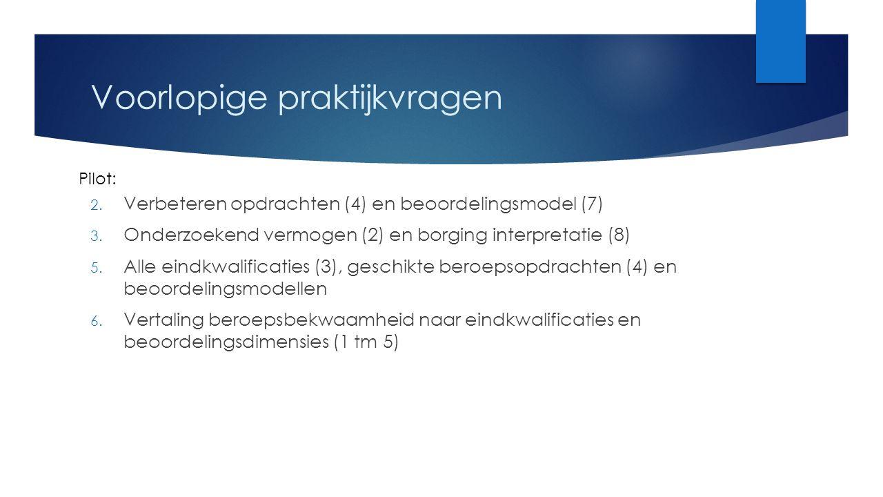 Voorlopige praktijkvragen 2. Verbeteren opdrachten (4) en beoordelingsmodel (7) 3.