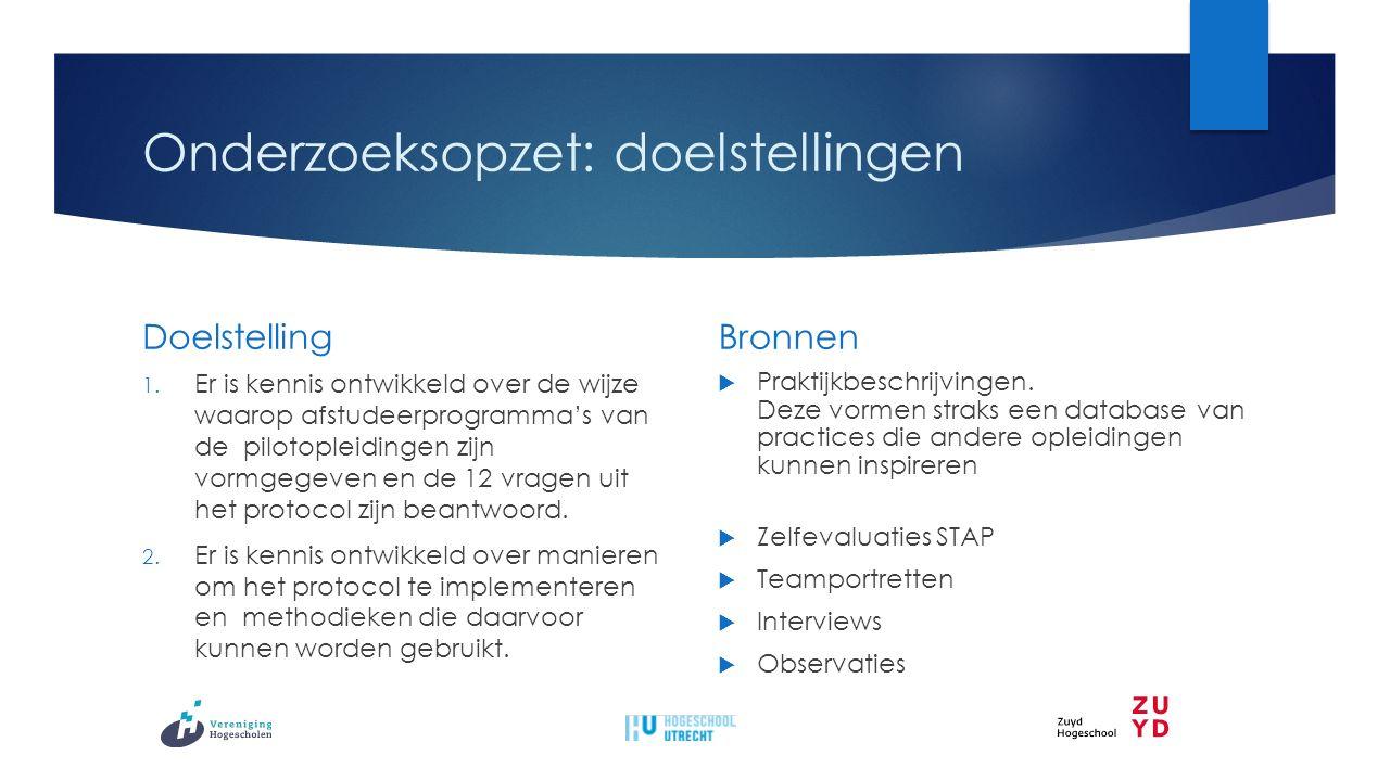 Onderzoeksopzet: hoofdvraag  Welke ontwerprichtlijnen helpen de pilotteams om hun afstudeerprogramma in samenwerking met het opleidingsteam te (her)ontwerpen?