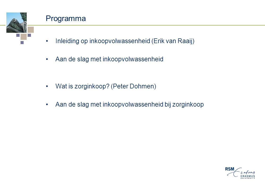 Programma Inleiding op inkoopvolwassenheid (Erik van Raaij) Aan de slag met inkoopvolwassenheid Wat is zorginkoop.