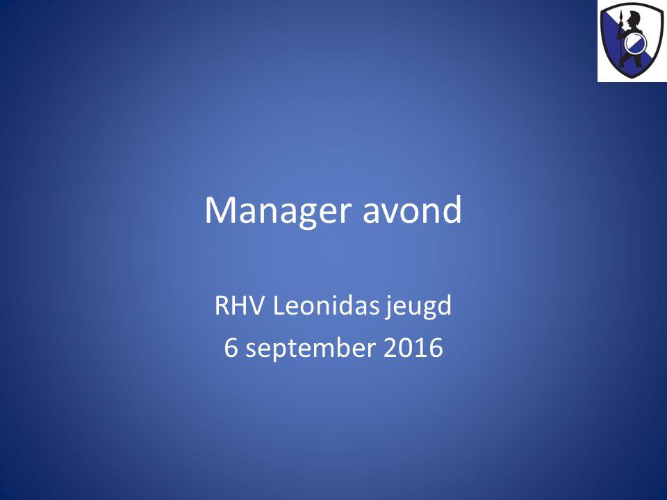 Manager avond RHV Leonidas jeugd 6 september 2016