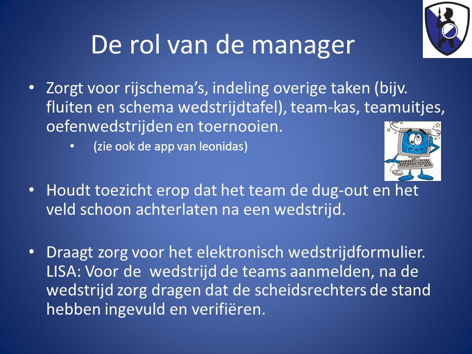 De rol van de manager Zorgt voor rijschema's, indeling overige taken (bijv. fluiten en schema wedstrijdtafel), team-kas, teamuitjes, oefenwedstrijden
