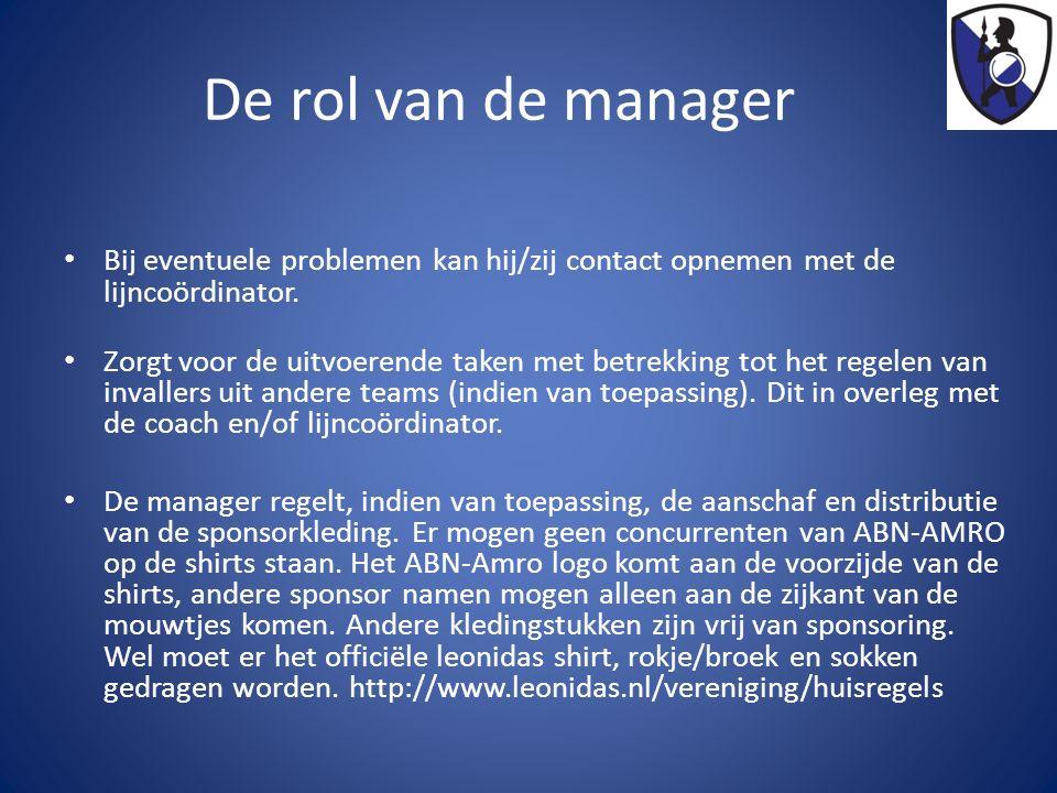 De rol van de manager Bij eventuele problemen kan hij/zij contact opnemen met de lijncoördinator. Zorgt voor de uitvoerende taken met betrekking tot h