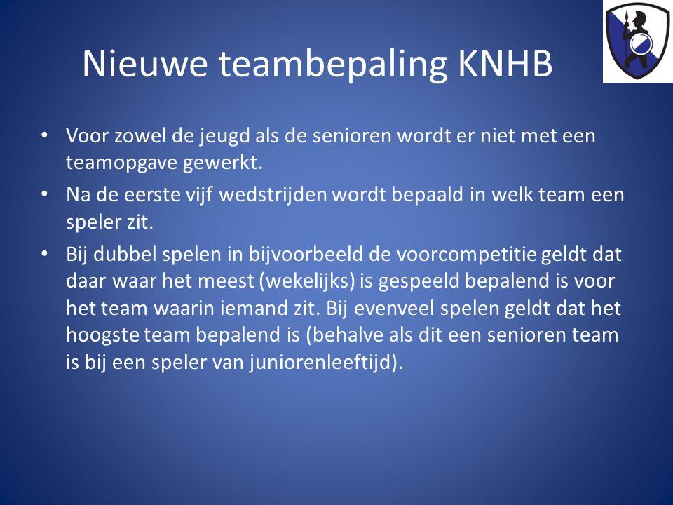 Nieuwe teambepaling KNHB Voor zowel de jeugd als de senioren wordt er niet met een teamopgave gewerkt. Na de eerste vijf wedstrijden wordt bepaald in
