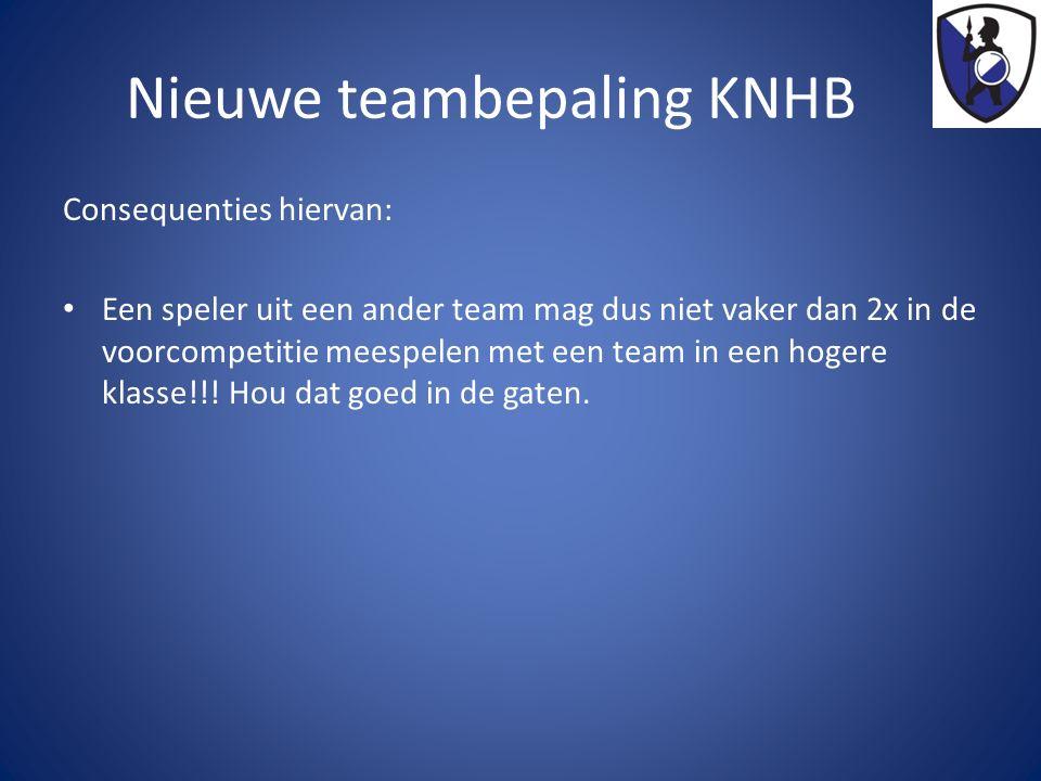 Nieuwe teambepaling KNHB Consequenties hiervan: Een speler uit een ander team mag dus niet vaker dan 2x in de voorcompetitie meespelen met een team in een hogere klasse!!.