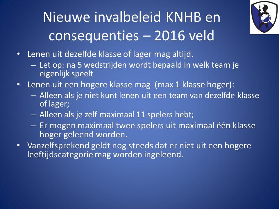 Nieuwe invalbeleid KNHB en consequenties – 2016 veld Lenen uit dezelfde klasse of lager mag altijd. – Let op: na 5 wedstrijden wordt bepaald in welk t